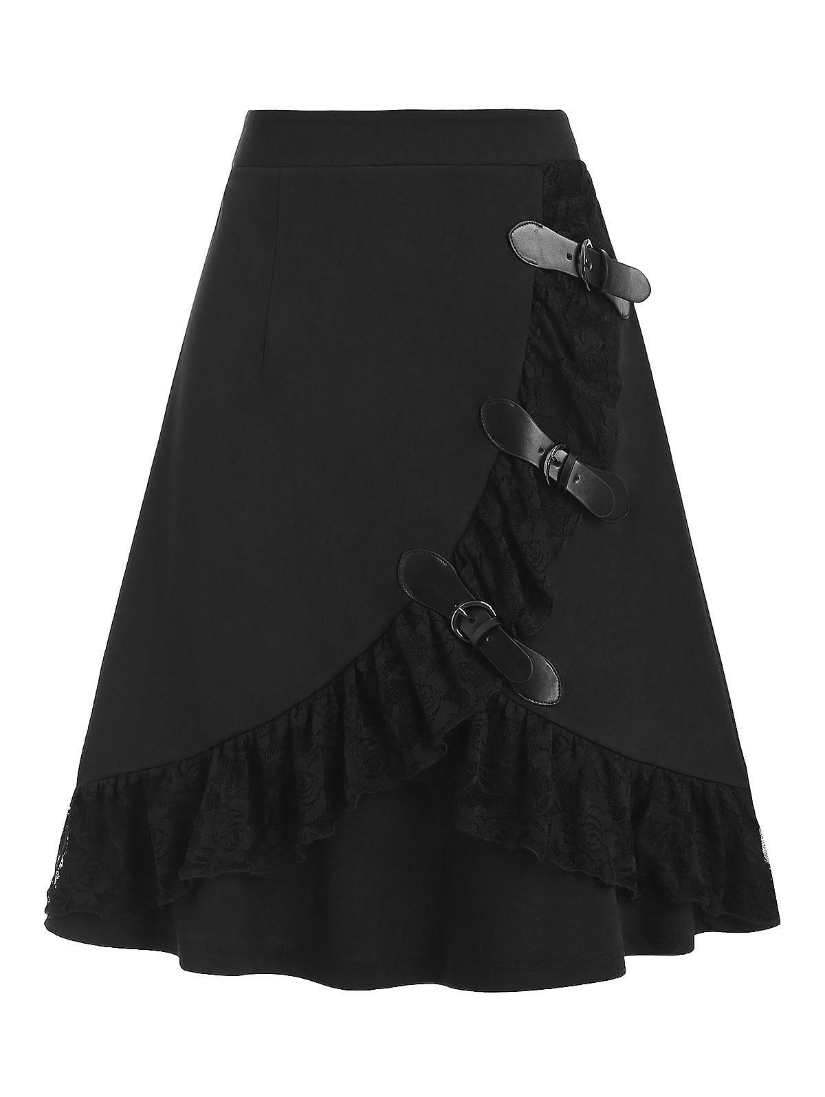 Outfit Multi Buckles Lace Panel Mini Gothic Skirt