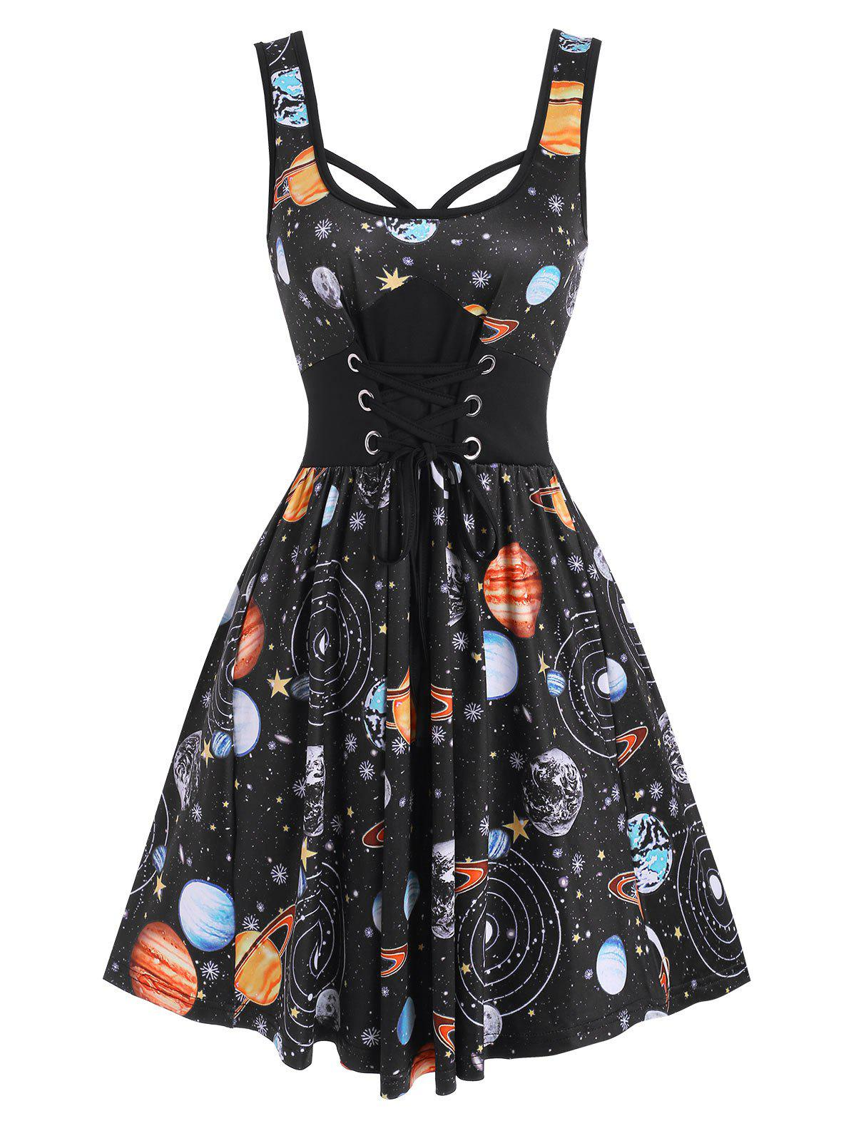 New Lace-up Galaxy Planet Print A Line Dress