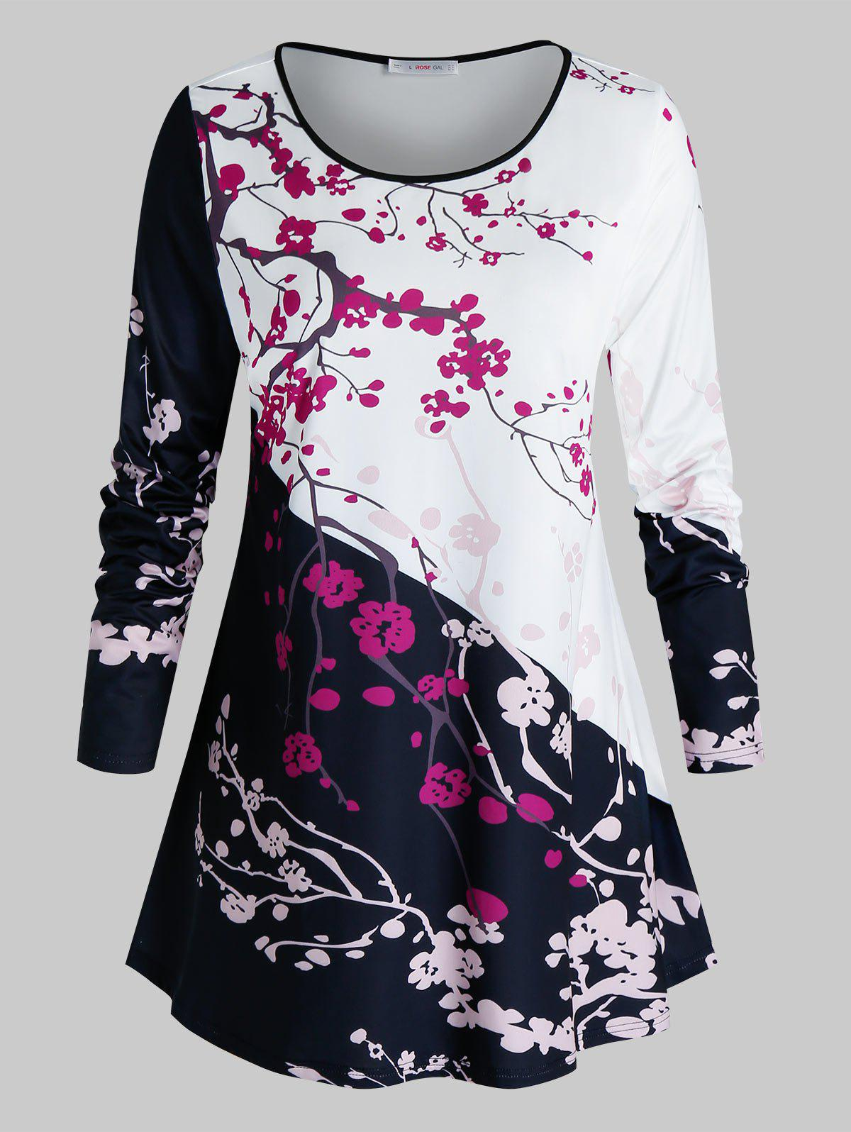New Plus Size Contrast Floral Print Long Sleeve T-shirt