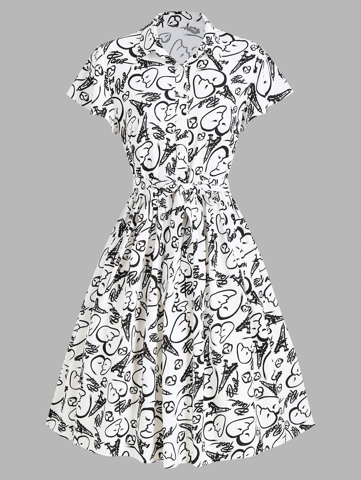 New Half Button Face Heart Graphic Print Belted Dress