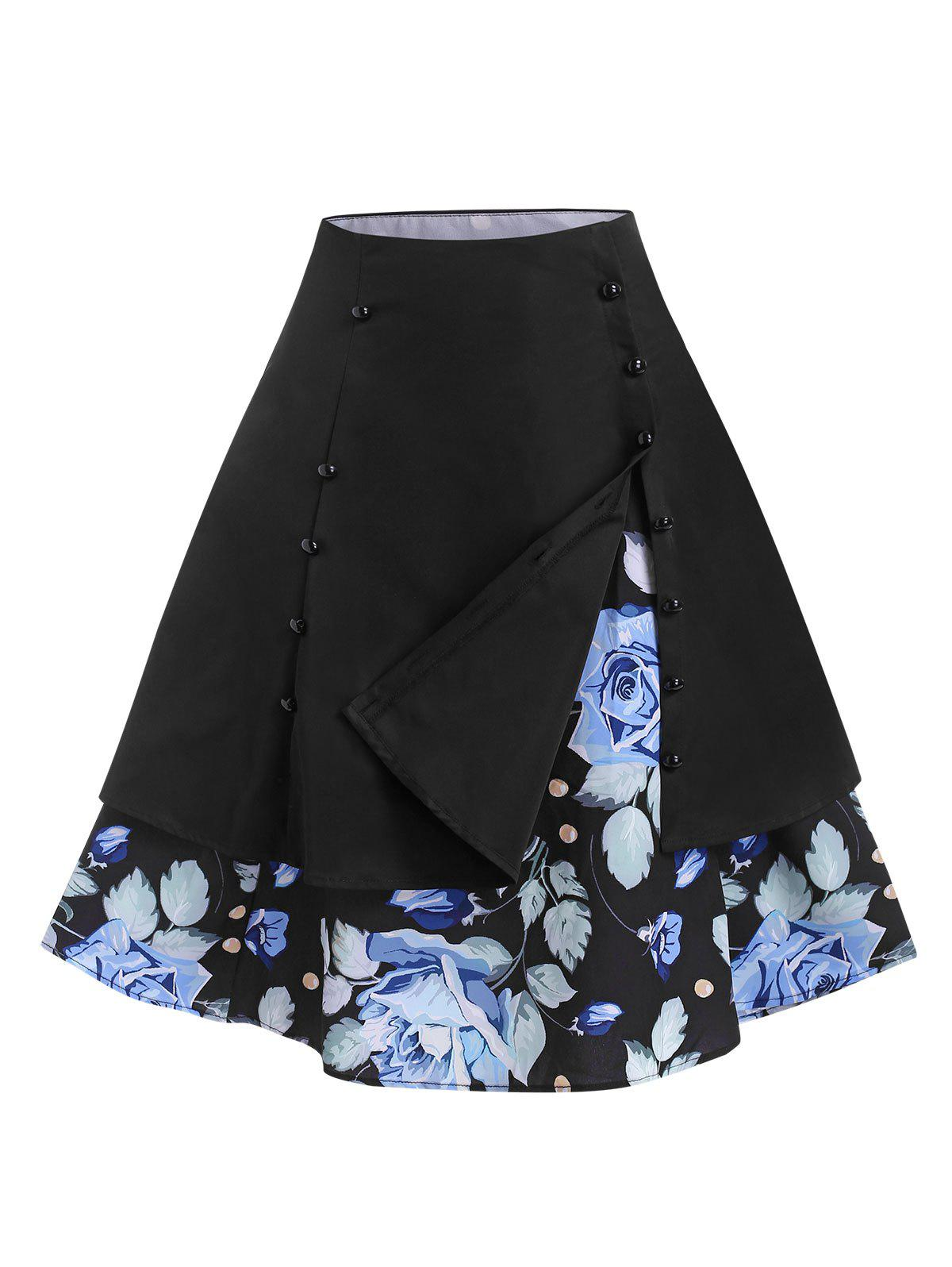Chic Sailor Style Layered Floral Vintage Skirt