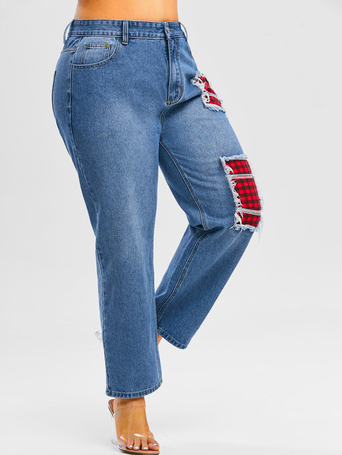 Discount Plus Size Distressed Plaid Patch Jeans