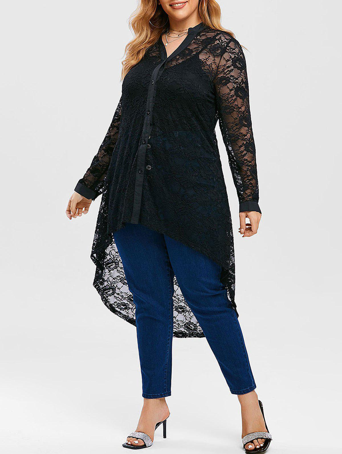 Trendy Plus Size Lace High Low Blouse with Long Camisole