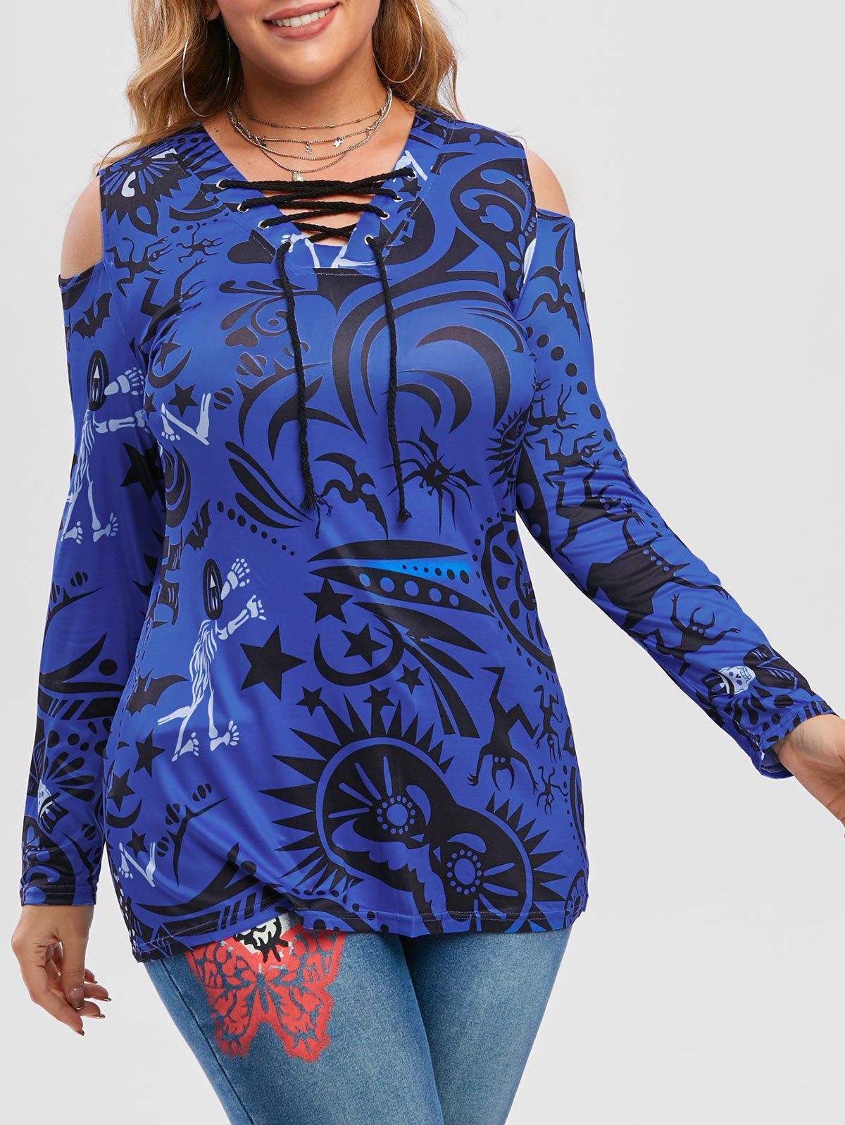 Chic Plus Size Halloween Printed Lace-up Cold Shoulder Tunic Top