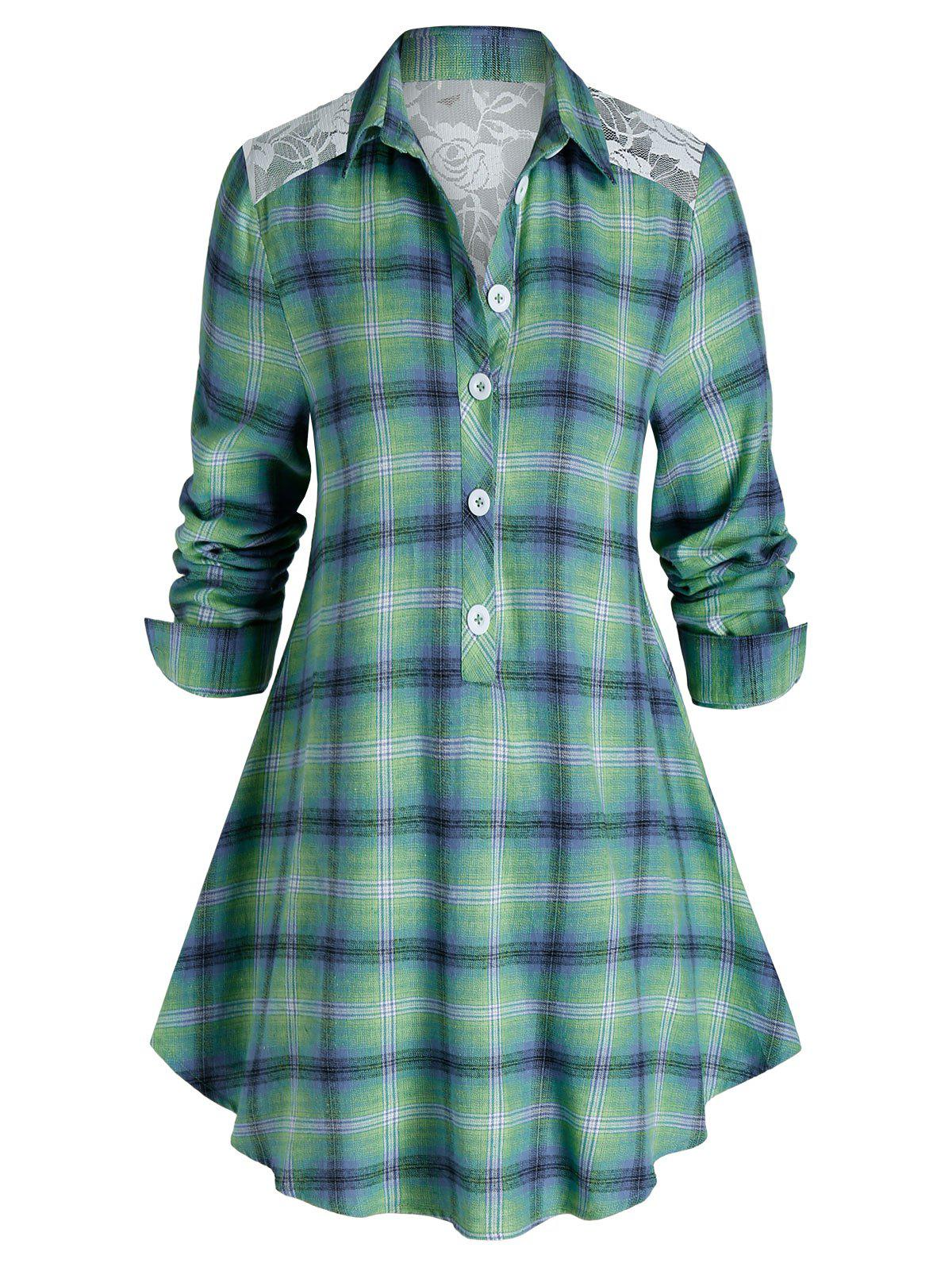 Sale Plus Size Plaid Print Lace Panel Tunic Blouse