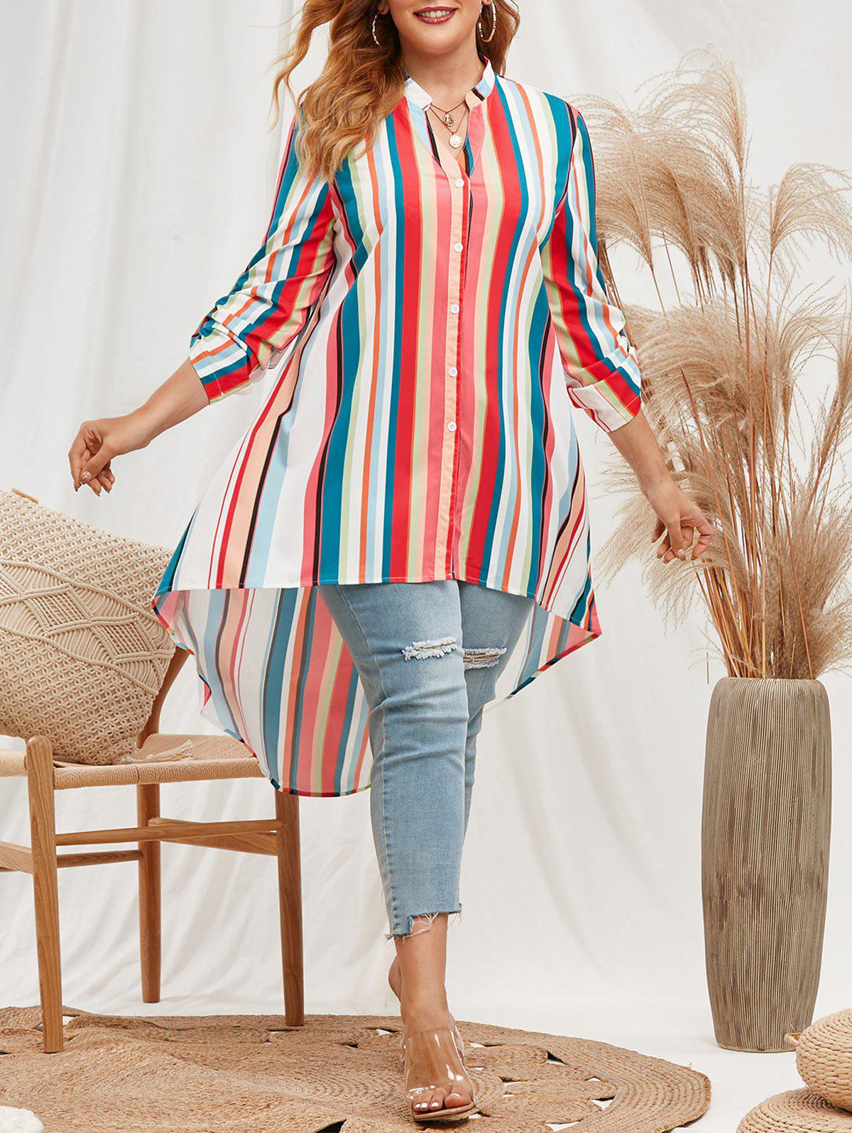 Fashion Plus Size Rainbow Stripes High Low Blouse