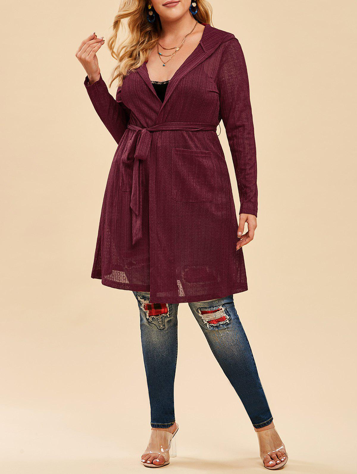 Discount Plus Size Hooded Belted Open Front Cardigan