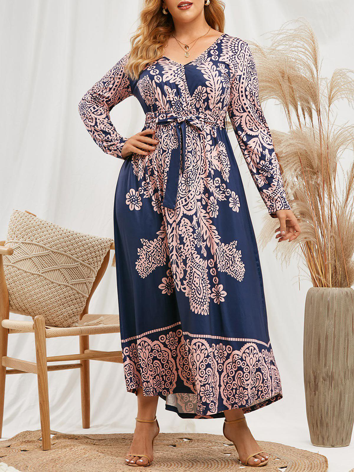 Discount Plus Size Printed Belted Maxi Surplice Dress