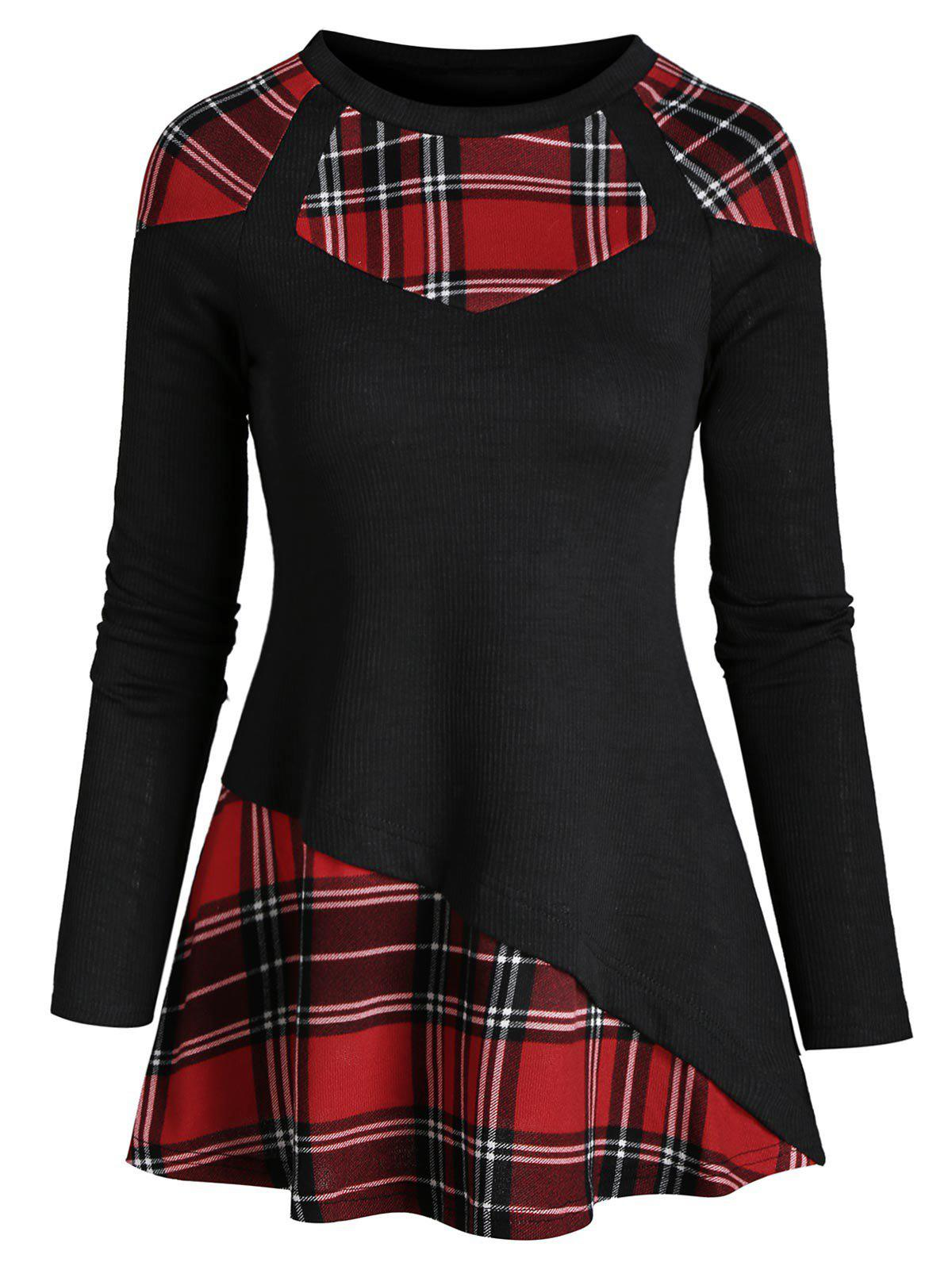 Latest Plaid Knitted Panel Asymmetric Top