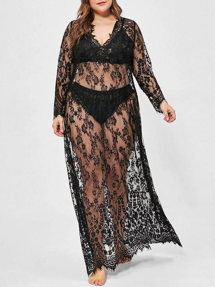 Cheap Plus Size Lace See Thru Eyelash Sexy Dress with T-back