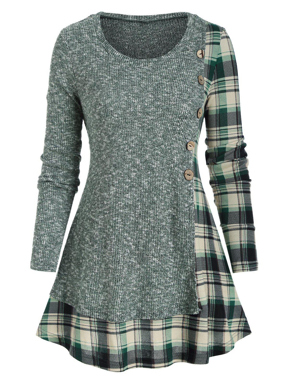 Latest Plaid Panel Mock Button Pullover Knitwear