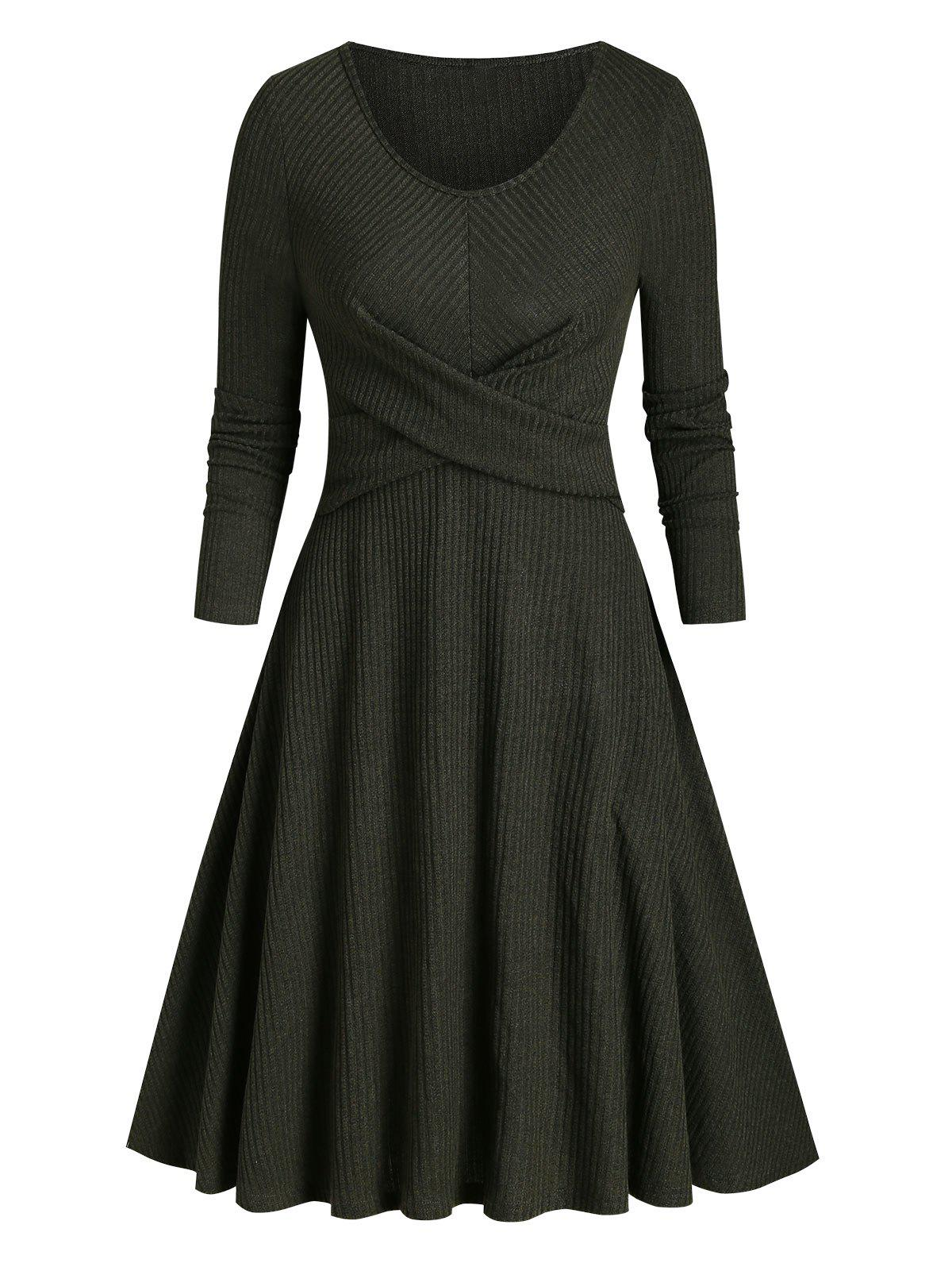 Latest Ribbed Front Cross Knitted Flare Dress
