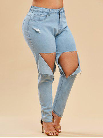 Light Wash High Waisted Destroyed Plus Size Skinny Jeans