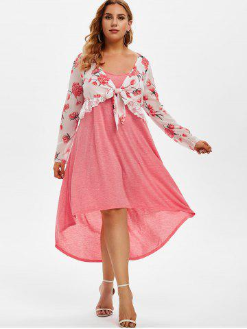 Plus Size Floral Chiffon Top and High Low Cami Dress Set