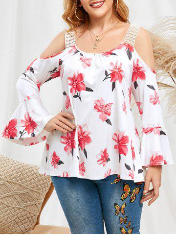 Plus Size Bell Sleeve Cold Shoulder Floral Tee - WHITE - 5X