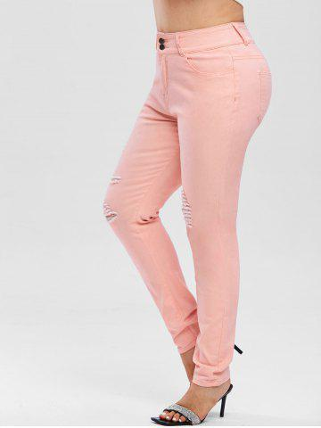 High Waisted Colored Ripped Plus Size Skinny Jeans - LIGHT PINK - L