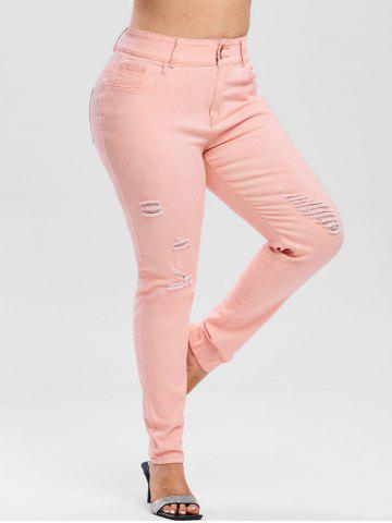 High Waisted Colored Ripped Plus Size Skinny Jeans