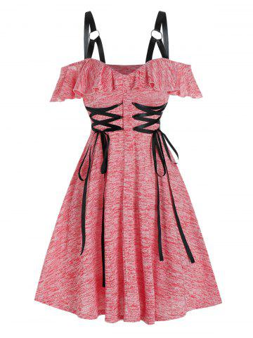 Cold Shoulder Lace-up Harness Insert Heathered Dress