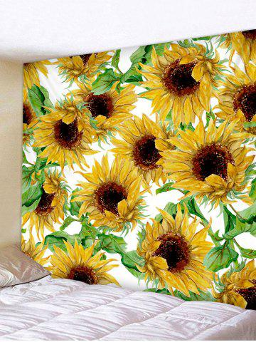 Sunflower Print Decorative Wall Hanging Tapestry - GOLDEN BROWN - W91 X L71 INCH