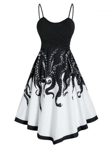 Contrast Octopus Print Slip Asymmetric Dress