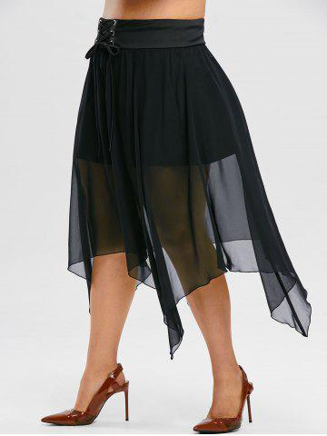 Plus Size Gothic Handkerchief Lace Up Mesh Overlay Skirt - BLACK - 2X