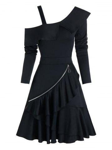 Cold Shoulder O-ring Zip Layered A Line Dress