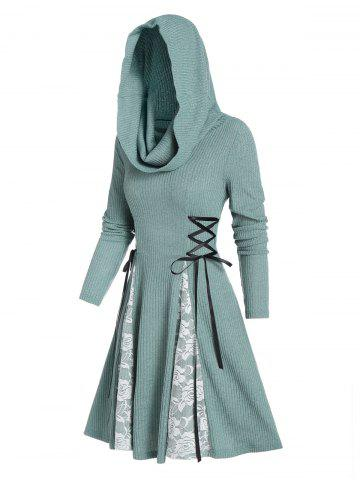 Hooded Lace Panel Lace-up Ribbed Dress - CYAN OPAQUE - 2XL