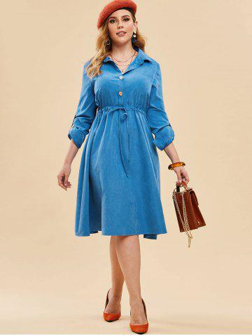 Plus Size Drawstring Half Button Roll Up Sleeve Dress