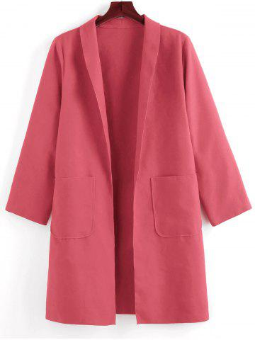 Plus Size Shawl Collar Patched Pocket Tunic Coat - WATERMELON PINK - 5X