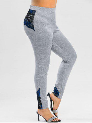 Plus Size Heathered Contrast Lace Gym Leggings - GRAY CLOUD - 5X
