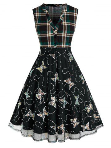 Plus Size Sequined Butterfly Plaid V Notch Mesh Dress - DARK FOREST GREEN - 4X