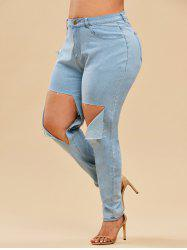 Light Wash High Waisted Destroyed Plus Size Skinny Jeans -