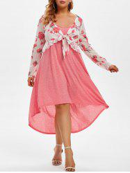 Plus Size Floral Chiffon Top and High Low Cami Dress Set -