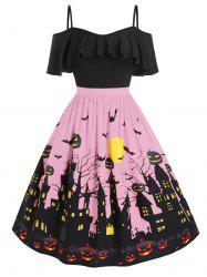 Plus Size Cold Shoulder Halloween Castle Pumpkin Flounce Dress -