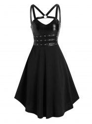 Grommet Harness Knee Length A Line Gothic Dress -