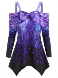 Open Shoulder Galaxy Bowknot Draped Ruched Tee -