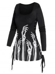 Gothic Skeleton Hands Print Side Lace Up T Shirt -