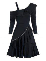 Cold Shoulder O-ring Zip Layered A Line Dress -