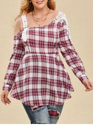 Plus Size Open Shoulder Buckle Lace Insert Plaid Blouse -