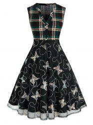 Plus Size Sequined Butterfly Plaid V Notch Mesh Dress -