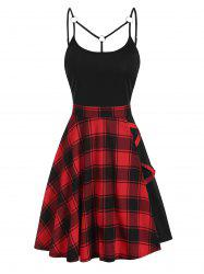 Tartan Plaid Panel Crisscross Cami A Line Dress -
