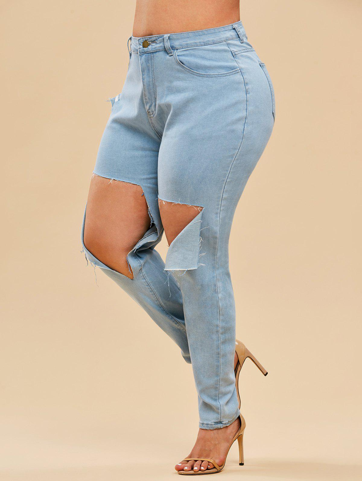 Chic Light Wash High Waisted Destroyed Plus Size Skinny Jeans