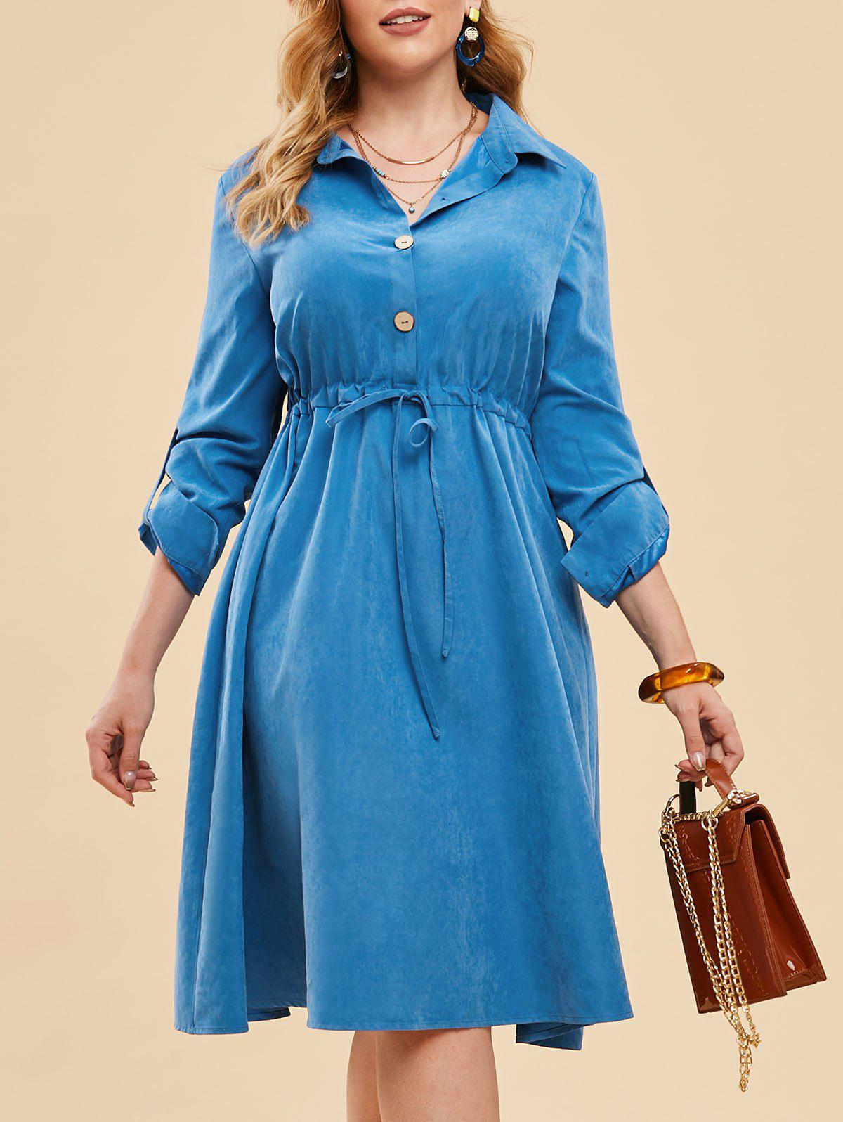 Online Plus Size Drawstring Half Button Roll Up Sleeve Dress
