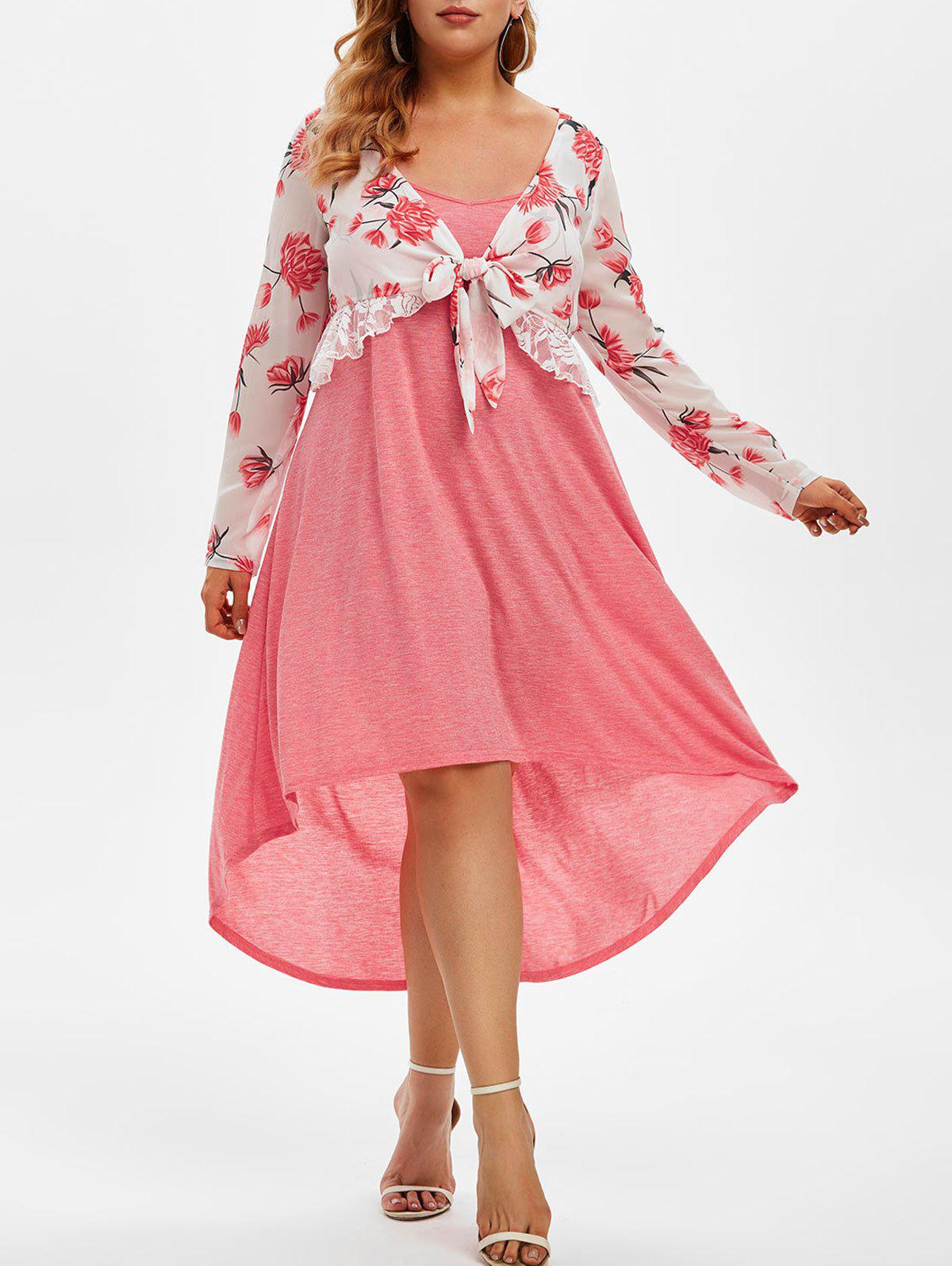Best Plus Size Floral Chiffon Top and High Low Cami Dress Set