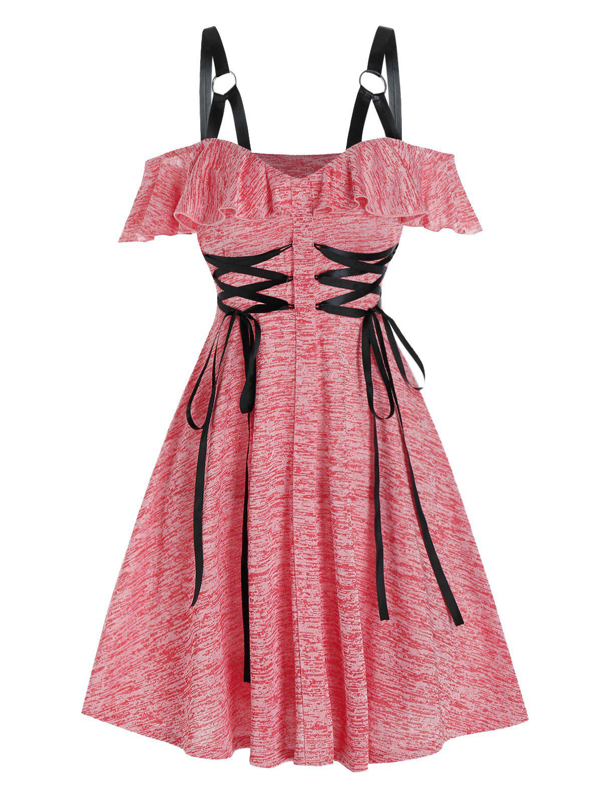 Trendy Cold Shoulder Lace-up Harness Insert Heathered Dress