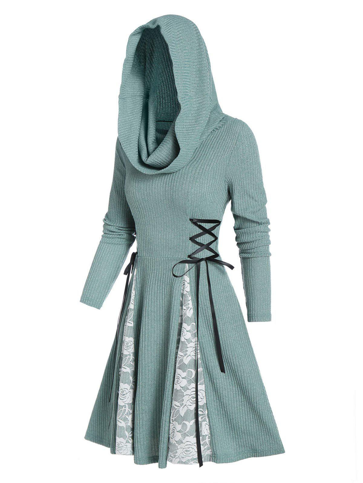 New Hooded Lace Panel Lace-up Ribbed Dress