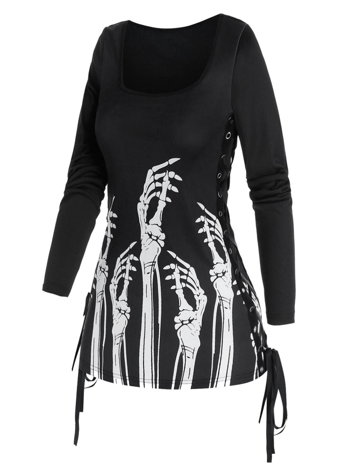 Fashion Gothic Skeleton Hands Print Side Lace Up T Shirt