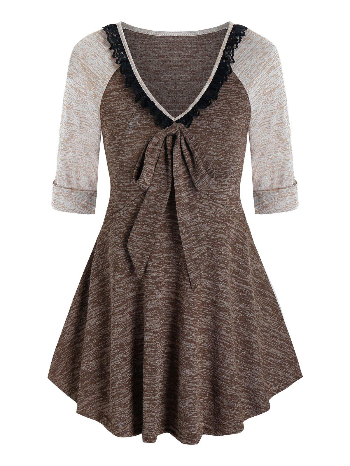 Outfits Contrast Space Dye Print Lace Insert Bowknot T-shirt