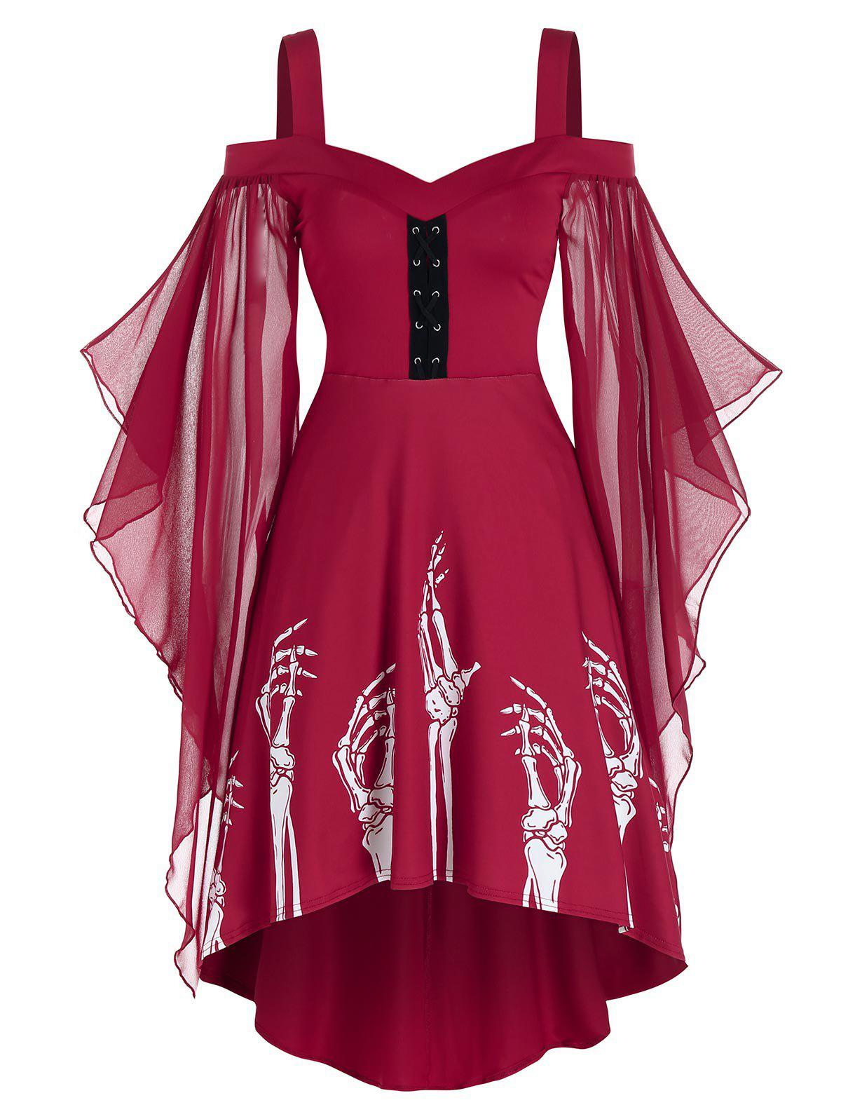 Affordable Skeleton Print Butterfly Sleeve Lace-up High Low Dress