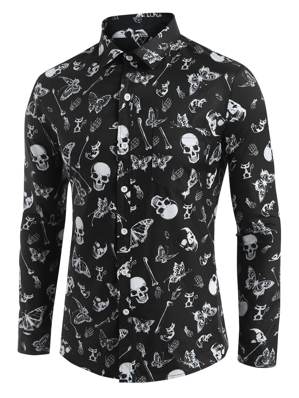 Affordable Halloween Skull Butterfly Pattern Shirt